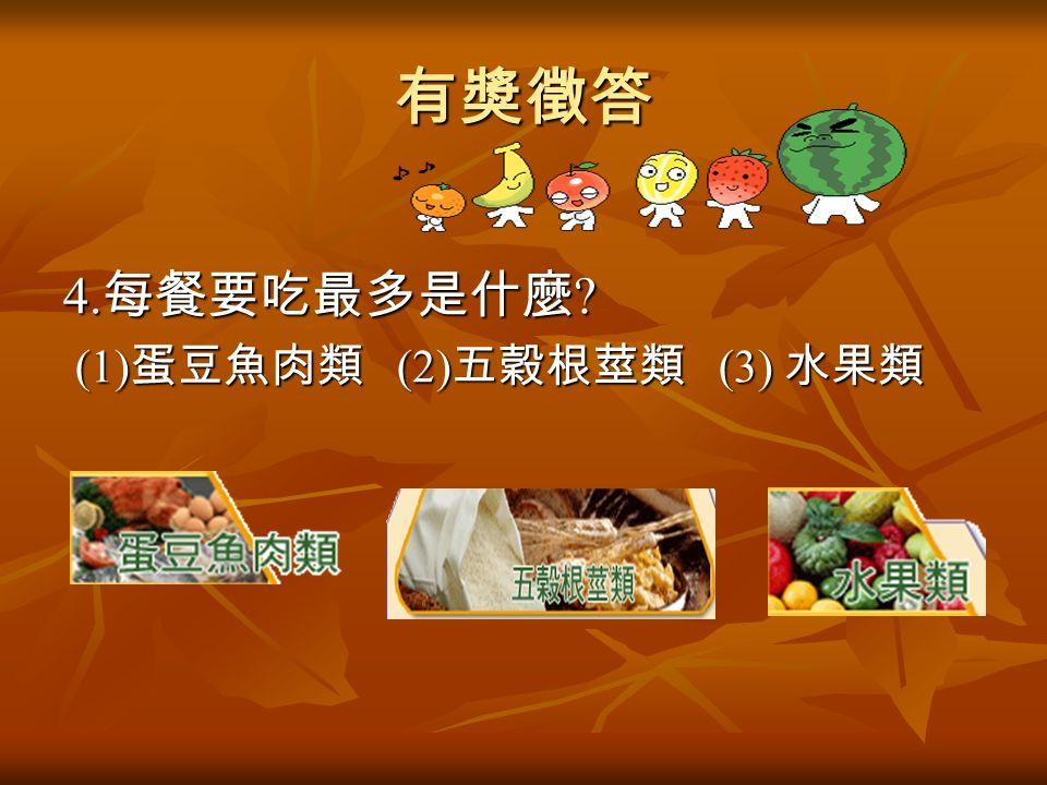 有獎徵答 4. 每餐要吃最多是什麼 (1) 蛋豆魚肉類 (2) 五穀根莖類 (3) 水果類 (1) 蛋豆魚肉類 (2) 五穀根莖類 (3) 水果類