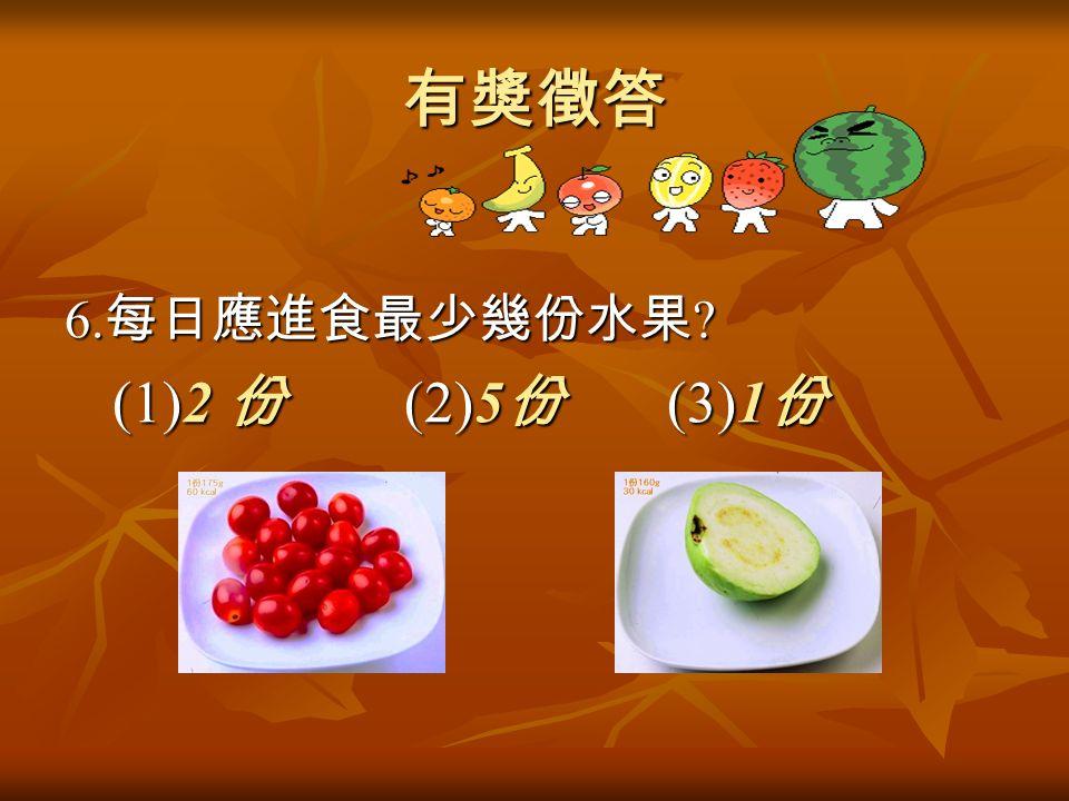 有獎徵答 6. 每日應進食最少幾份水果 (1)2 份 (2)5 份 (3)1 份 (1)2 份 (2)5 份 (3)1 份
