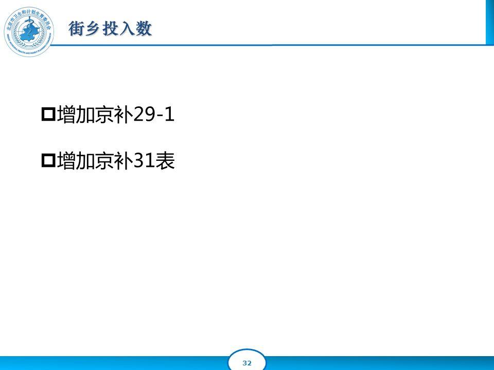32 街乡投入数  增加京补29-1  增加京补31表