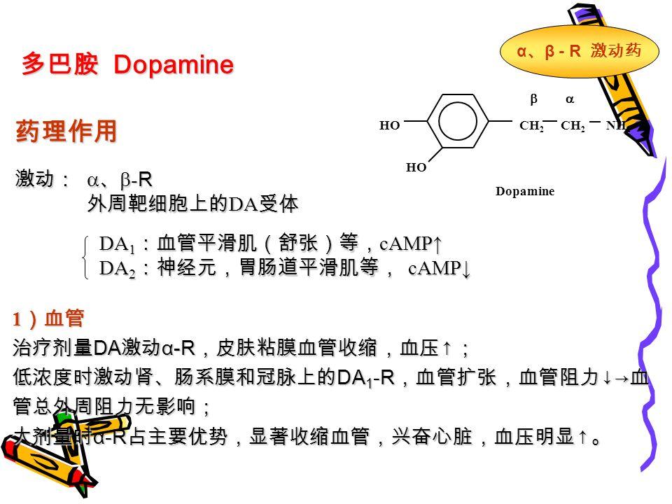多巴胺 Dopamine 药理作用 激动:  、  - R 外周靶细胞上的 DA 受体 外周靶细胞上的 DA 受体 DA 1 :血管平滑肌(舒张)等, cAMP↑ DA 2 :神经元,胃肠道平滑肌等, cAMP↓ 1 )血管 治疗剂量 DA 激动 α-R ,皮肤粘膜血管收缩,血压 ↑ ; 低浓度时激动肾、肠系膜和冠脉上的 DA 1 -R ,血管扩张,血管阻力 ↓→ 血 管总外周阻力无影响; 大剂量时 α-R 占主要优势,显著收缩血管,兴奋心脏,血压明显 ↑ 。  CH 2 NH 2 HO Dopamine α 、 β - R 激动药