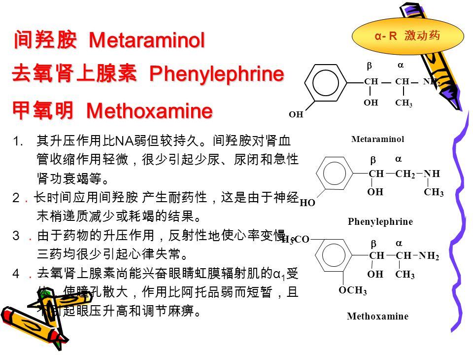 间羟胺 Metaraminol 去氧肾上腺素 Phenylephrine 甲氧明 Methoxamine   CH NH 2 OH CH 3 Metaraminol Phenylephrine CHCH 2 NH OH HO CH 3     CHCHNH 2 OHCH 3 OCH 3 H 3 CO Methoxamine α- R 激动药 1.