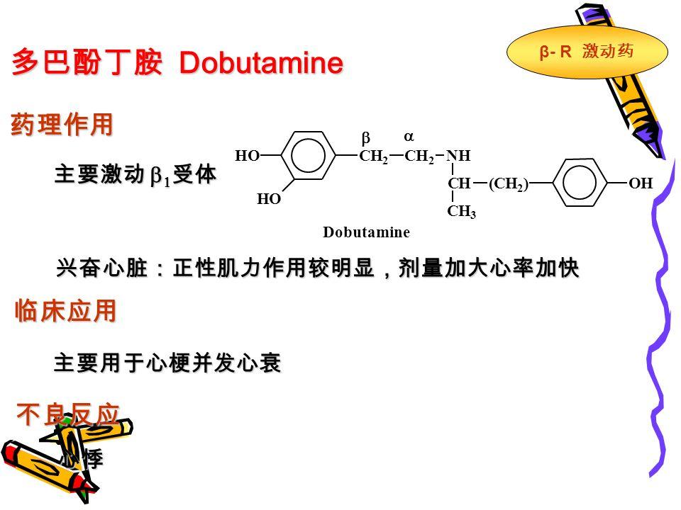多巴酚丁胺 Dobutamine 药理作用 主要激动   受体 兴奋心脏:正性肌力作用较明显,剂量加大心率加快 临床应用 主要用于心梗并发心衰 不良反应 心悸 CH 2 CH 2 NH HO HO CH(CH 2 ) CH 3 OH   Dobutamine β - R 激动药