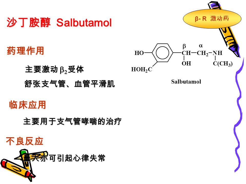 沙丁胺醇 Salbutamol 药理作用 主要激动   受体 舒张支气管、血管平滑肌 临床应用 主要用于支气管哮喘的治疗 不良反应 量大亦可引起心律失常 CHCH 2 NH HOH 2 C HO OHC(CH 3 )   Salbutamol β - R 激动药