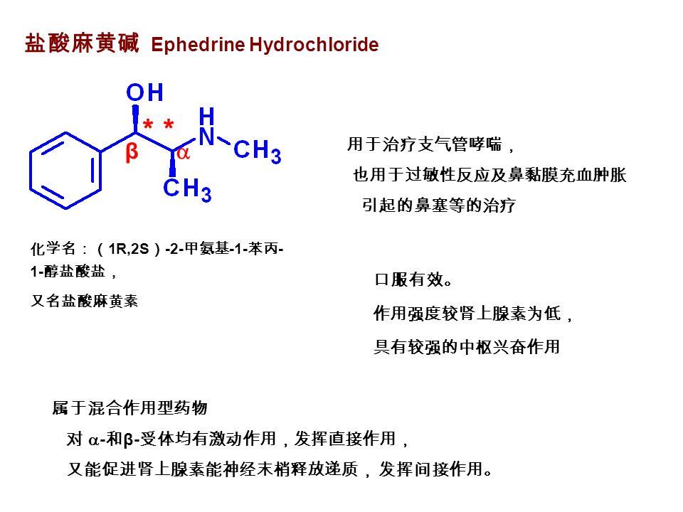 盐酸麻黄碱 Ephedrine Hydrochloride 化学名:( 1R,2S ) -2- 甲氨基 -1- 苯丙 - 1- 醇盐酸盐, 又名盐酸麻黄素 β  * 属于混合作用型药物 对  - 和 β- 受体均有激动作用,发挥直接作用, 又能促进肾上腺素能神经末梢释放递质, 发挥间接作用。 用于治疗支气管哮喘, 也用于过敏性反应及鼻黏膜充血肿胀 引起的鼻塞等的治疗 口服有效。 作用强度较肾上腺素为低, 具有较强的中枢兴奋作用