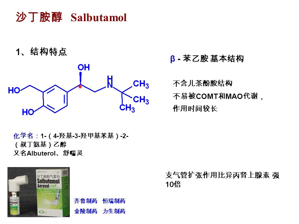 沙丁胺醇 Salbutamol 齐鲁制药 恒瑞制药 金陵制药 力生制药 1 、结构特点 * 化学名: 1- ( 4- 羟基 -3- 羟甲基苯基) -2- (叔丁氨基)乙醇 又名 Albuterol 、舒喘灵 β - 苯乙胺 基本结构 不含儿茶酚胺结构 不易被 COMT 和 MAO 代谢, 作用时间较长 支气管扩张作用比异丙肾上腺素 强 10 倍