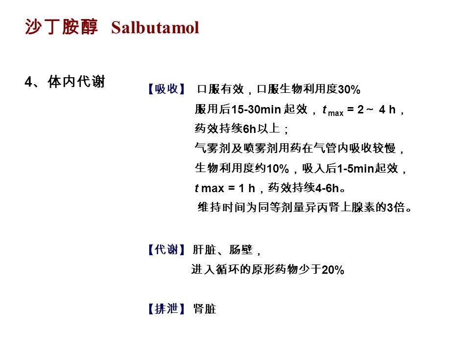 沙丁胺醇 Salbutamol 4 、体内代谢 【吸收】 口服有效,口服生物利用度 30% 服用后 15-30min 起效, t max = 2 ~ 4 h , 药效持续 6h 以上; 气雾剂及喷雾剂用药在气管内吸收较慢, 生物利用度约 10% ,吸入后 1-5min 起效, t max = 1 h ,药效持续 4-6h 。 维持时间为同等剂量异丙肾上腺素的 3 倍。 【代谢】 肝脏、肠壁, 进入循环的原形药物少于 20% 【排泄】 肾脏