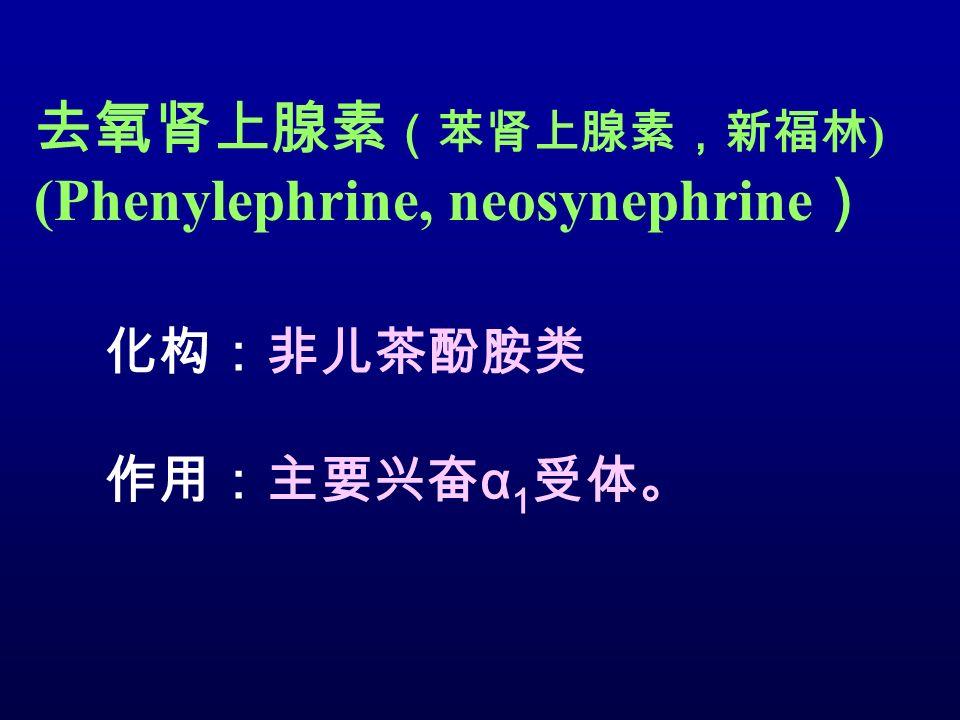 去氧肾上腺素 (苯肾上腺素,新福林 ) (Phenylephrine, neosynephrine ) 化构:非儿茶酚胺类 作用:主要兴奋 α 1 受体。
