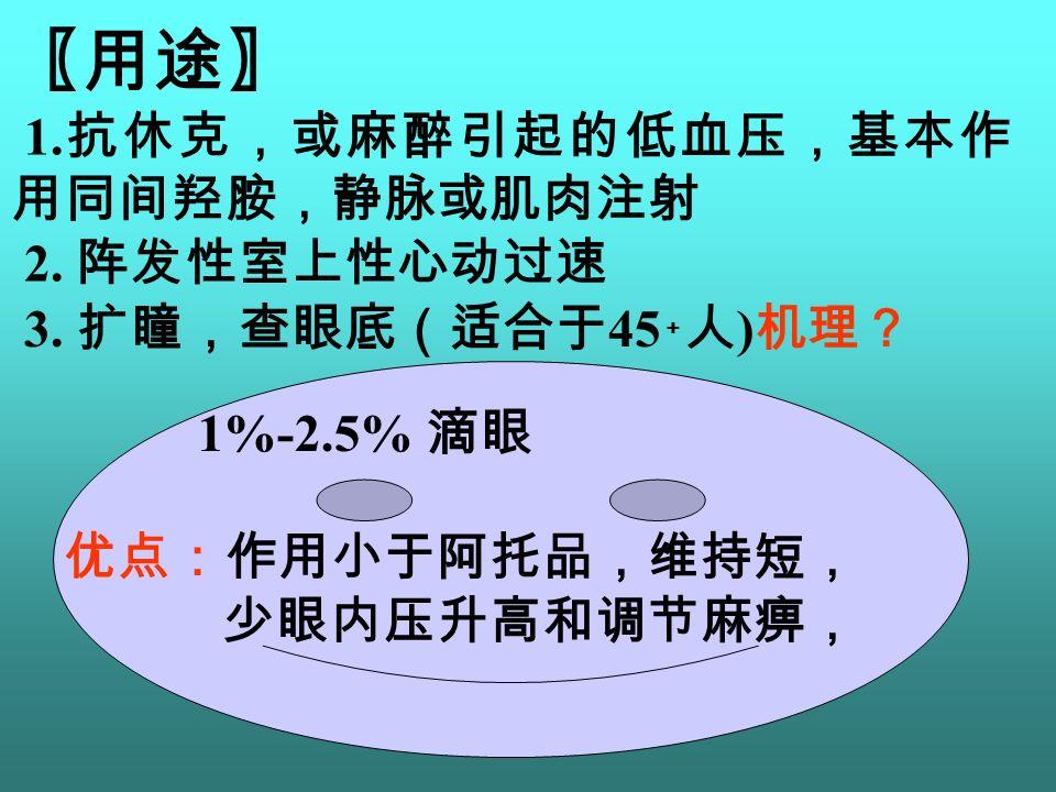 〖用途〗 1. 抗休克,或麻醉引起的低血压,基本作 用同间羟胺,静脉或肌肉注射 2. 阵发性室上性心动过速 1%-2.5% 滴眼 3.