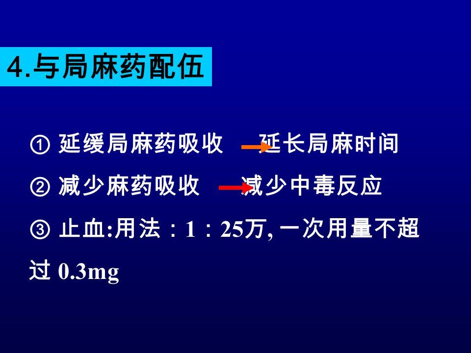 ① 延缓局麻药吸收 延长局麻时间 ② 减少麻药吸收 减少中毒反应 ③ 止血 : 用法: 1 : 25 万, 一次用量不超 过 0.3mg 4. 与局麻药配伍