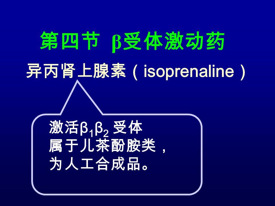 第四节 β 受体激动药 异丙肾上腺素( isoprenaline ) 激活 β 1 β 2 受体 属于儿茶酚胺类, 为人工合成品。