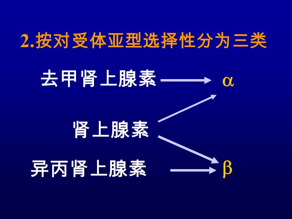 2. 按对受体亚型选择性分为三类 去甲肾上腺素 肾上腺素 异丙肾上腺素  