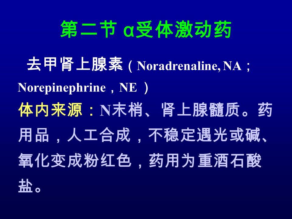 第二节 α 受体激动药 去甲肾上腺素 ( Noradrenaline, NA ; Norepinephrine , NE ) 体内来源: N 末梢、肾上腺髓质。药 用品,人工合成,不稳定遇光或碱、 氧化变成粉红色,药用为重酒石酸 盐。