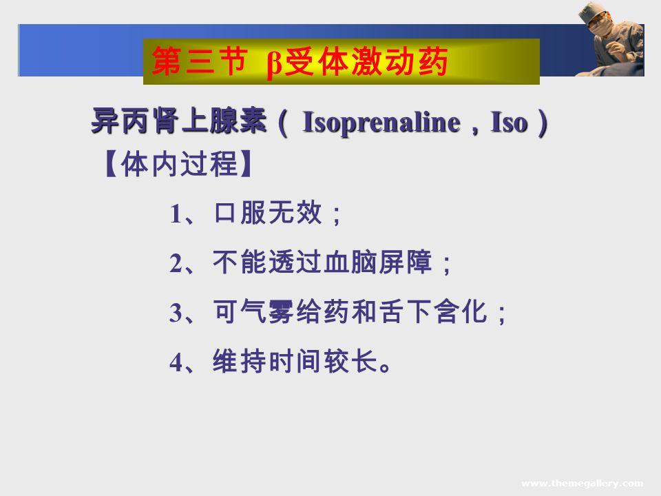 www.themegallery.com 异丙肾上腺素( Isoprenaline , Iso ) 【体内过程】 1 、口服无效; 2 、不能透过血脑屏障; 3 、可气雾给药和舌下含化; 4 、维持时间较长。 第三节 β 受体激动药