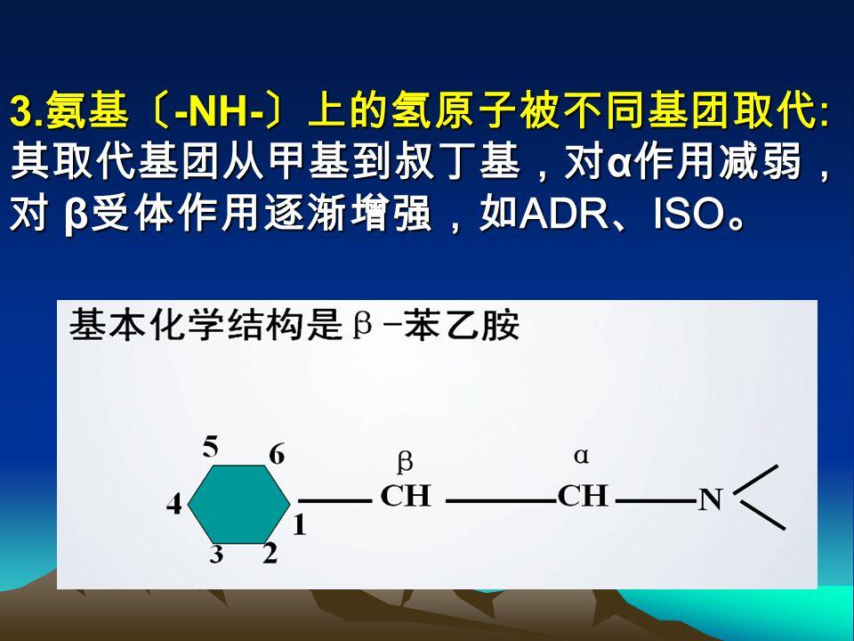 ③无羟基 如麻黄碱。羟基少,作 用时间延长,因不易被灭活。 2. 乙胺上的 α 位 -H 被 -CH3 取代: 不易被 MAO 氧化,易被神经末稍 摄取,可促进 NE 释放作用,如: 间羟胺、麻黄碱