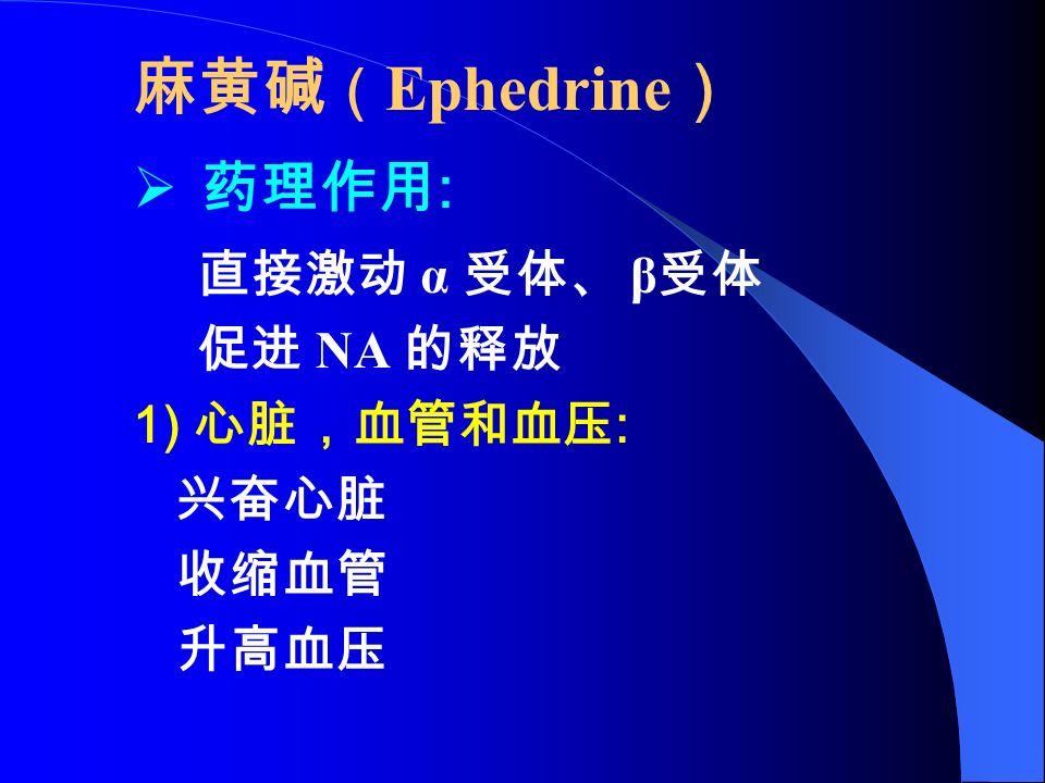 麻黄碱 ( Ephedrine )  药理作用 : 直接激动 α 受体、 β 受体 促进 NA 的释放 1) 心脏,血管和血压 : 兴奋心脏 收缩血管 升高血压