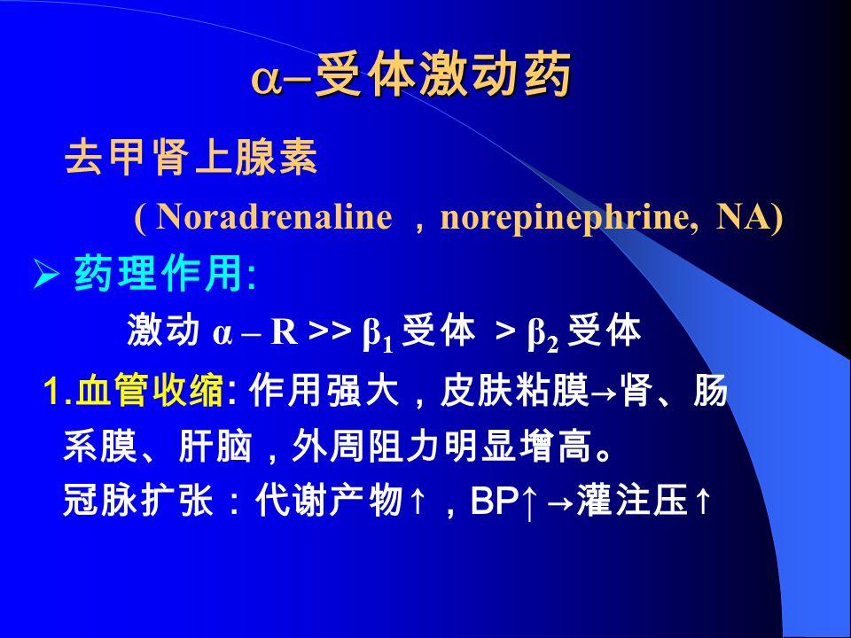  受体激动药 去甲肾上腺素 ( Noradrenaline , norepinephrine, NA)  药理作用 : 激动 α – R >> β 1 受体 > β 2 受体 1.