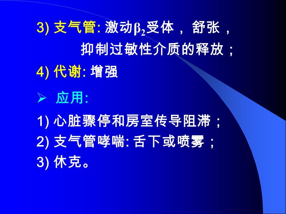 3) 支气管 : 激动 β 2 受体, 舒张, 抑制过敏性介质的释放; 4) 代谢 : 增强  应用 : 1) 心脏骤停和房室传导阻滞; 2) 支气管哮喘 : 舌下或喷雾; 3) 休克。