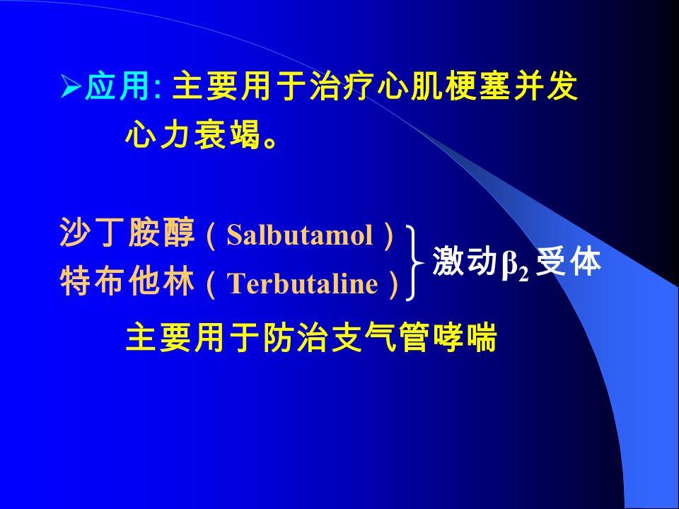  应用 : 主要用于治疗心肌梗塞并发 心力衰竭。 沙丁胺醇 ( Salbutamol ) 特布他林 ( Terbutaline ) 主要用于防治支气管哮喘 激动 β 2 受体