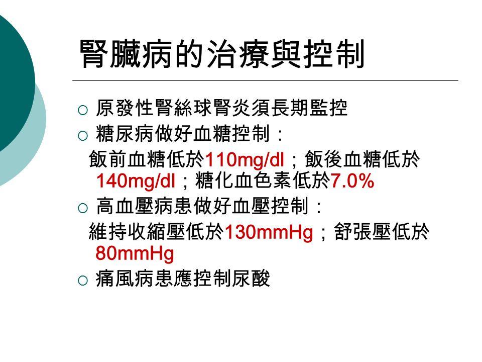 腎臟病的治療與控制  原發性腎絲球腎炎須長期監控  糖尿病做好血糖控制: 飯前血糖低於 110mg/dl ;飯後血糖低於 140mg/dl ;糖化血色素低於 7.0%  高血壓病患做好血壓控制: 維持收縮壓低於 130mmHg ;舒張壓低於 80mmHg  痛風病患應控制尿酸
