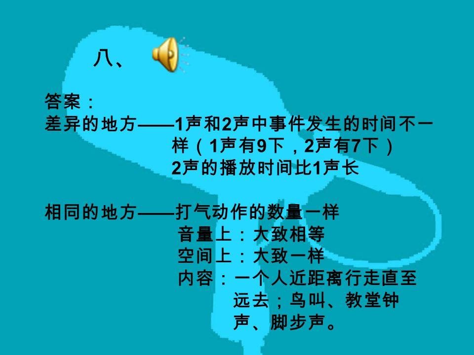八、 答案: 差异的地方 ——1 声和 2 声中事件发生的时间不一 样( 1 声有 9 下, 2 声有 7 下) 2 声的播放时间比 1 声长 相同的地方 —— 打气动作的数量一样 音量上:大致相等 空间上:大致一样 内容:一个人近距离行走直至 远去;鸟叫、教堂钟 声、脚步声。