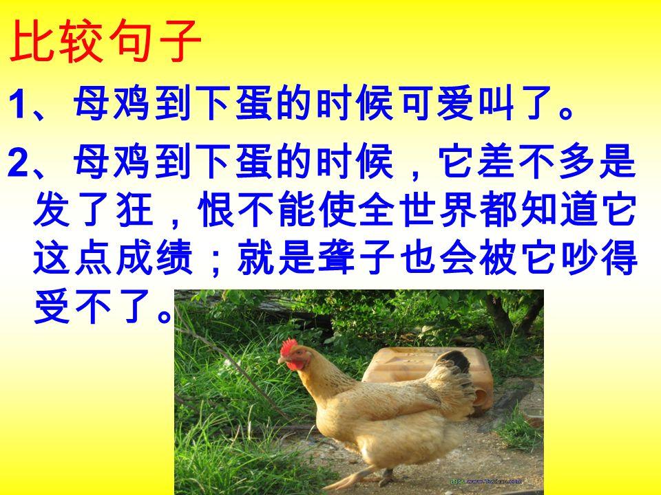 比较句子 1 、母鸡到下蛋的时候可爱叫了。 2 、母鸡到下蛋的时候,它差不多是 发了狂,恨不能使全世界都知道它 这点成绩;就是聋子也会被它吵得 受不了。