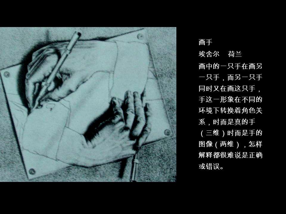 客观 画手 埃舍尔 荷兰 画中的一只手在画另 一只手,而另一只手 同时又在画这只手, 手这一形象在不同的 环境下转换着角色关 系,时而是真的手 (三维)时而是手的 图像(两维),怎样 解释都很难说是正确 或错误。