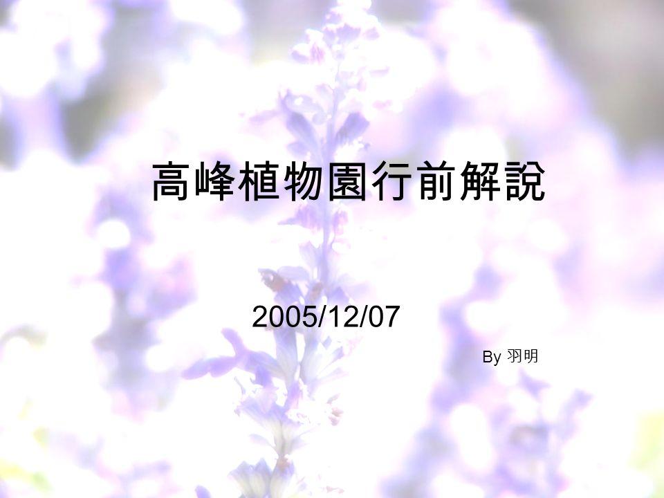 高峰植物園行前解說 2005/12/07 By 羽明