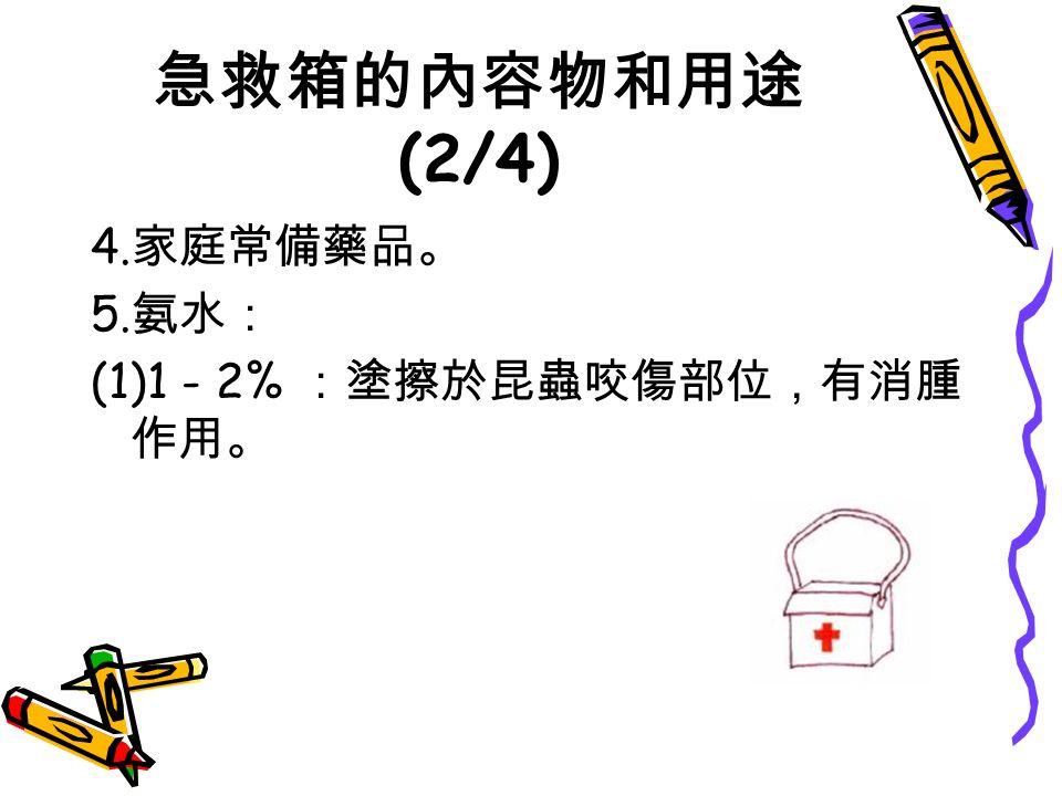 急救箱的內容物和用途 (2/4) 4. 家庭常備藥品。 5. 氨水: (1)1 - 2% :塗擦於昆蟲咬傷部位,有消腫 作用。
