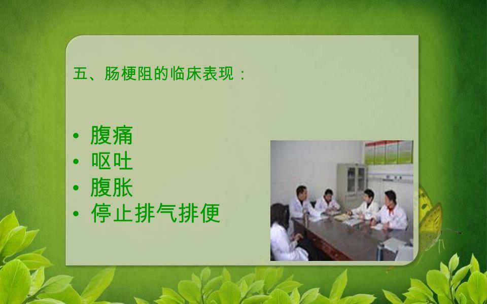五、肠梗阻的临床表现: 腹痛 呕吐 腹胀 停止排气排便