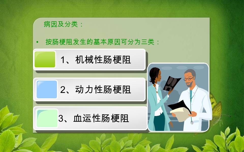 按肠梗阻发生的基本原因可分为三类: 病因及分类: 1 、机械性肠梗阻 1 、机械性肠梗阻 2 、动力性肠梗阻 3 、血运性肠梗阻 3 、血运性肠梗阻
