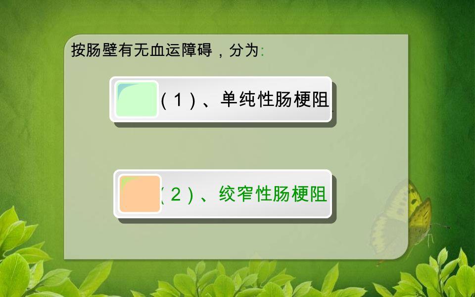 按肠壁有无血运障碍,分为 : ( 1 )、单纯性肠梗阻 ( 2 )、绞窄性肠梗阻