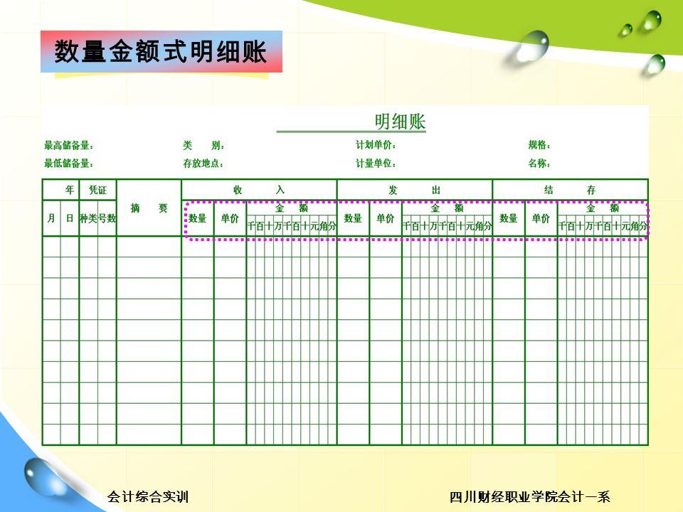 四川财经职业学院会计一系会计综合实训 数量金额式明细账