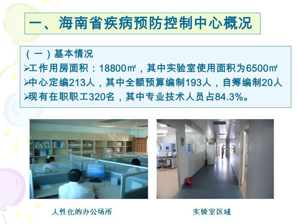 (一)基本情况  工作用房面积: 18800 ㎡,其中实验室使用面积为 6500 ㎡  中心定编 213 人,其中全额预算编制 193 人,自筹编制 20 人  现有在职职工 320 名,其中专业技术人员占 84.3% 。 人性化的办公场所实验室区域 一、海南省疾病预防控制中心概况