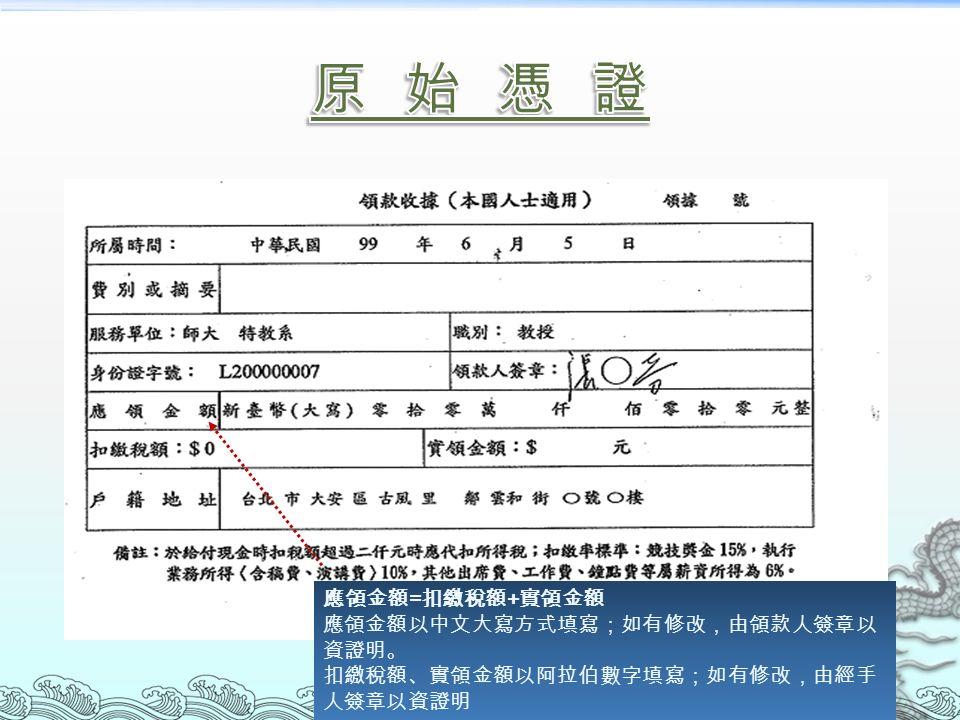 應領金額 = 扣繳稅額 + 實領金額 應領金額以中文大寫方式填寫;如有修改,由領款人簽章以 資證明。 扣繳稅額、實領金額以阿拉伯數字填寫;如有修改,由經手 人簽章以資證明