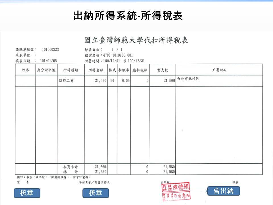 出納所得系統 - 所得稅表 會出納 核章