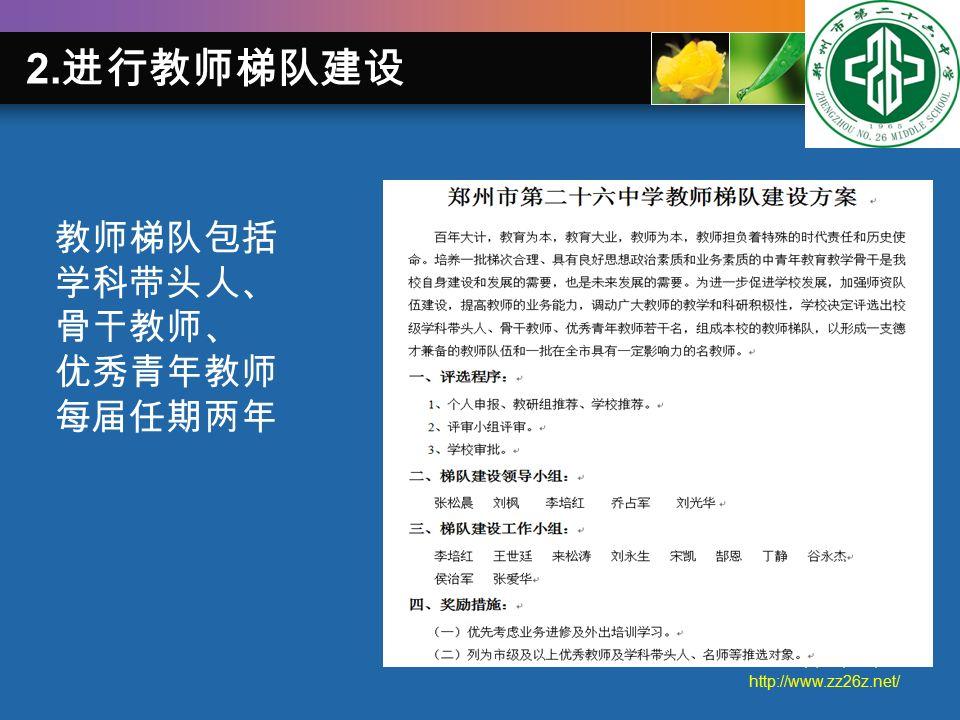 郑州二十六中学 http://www.zz26z.net/ 2. 进行教师梯队建设 教师梯队包括 学科带头人、 骨干教师、 优秀青年教师 每届任期两年