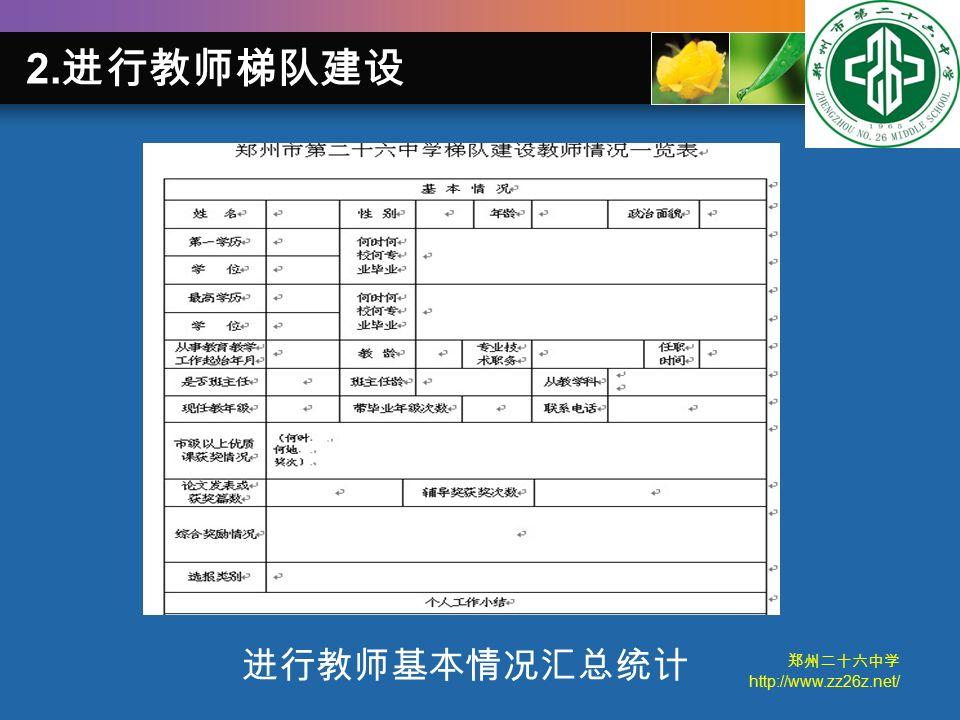 郑州二十六中学 http://www.zz26z.net/ 进行教师基本情况汇总统计 2. 进行教师梯队建设