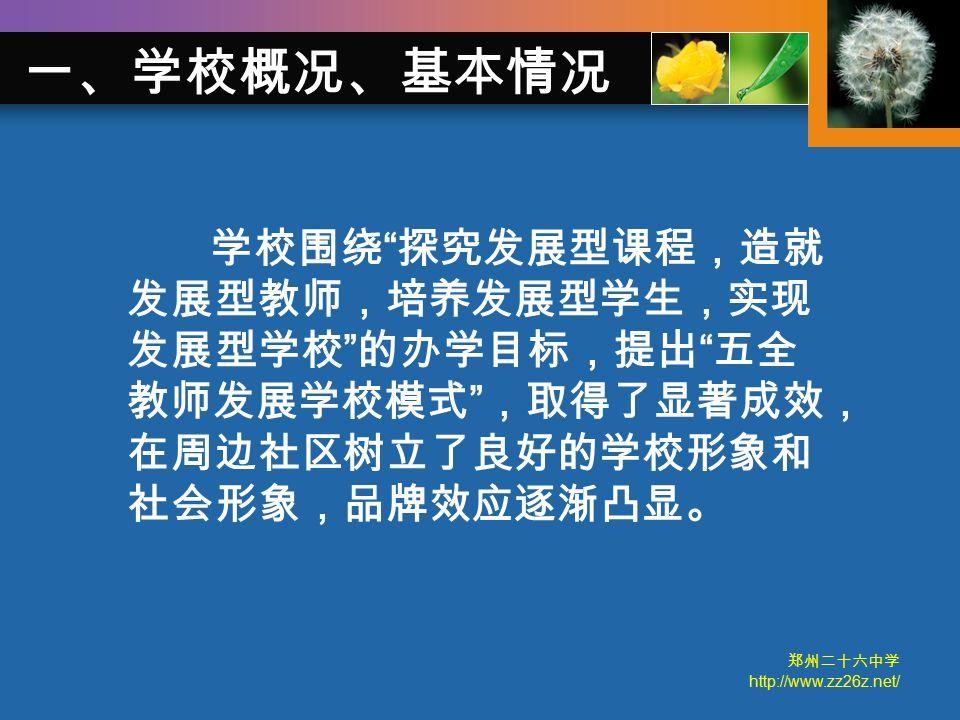 郑州二十六中学 http://www.zz26z.net/ 学校围绕 探究发展型课程,造就 发展型教师,培养发展型学生,实现 发展型学校 的办学目标,提出 五全 教师发展学校模式 ,取得了显著成效, 在周边社区树立了良好的学校形象和 社会形象,品牌效应逐渐凸显。 一、学校概况、基本情况