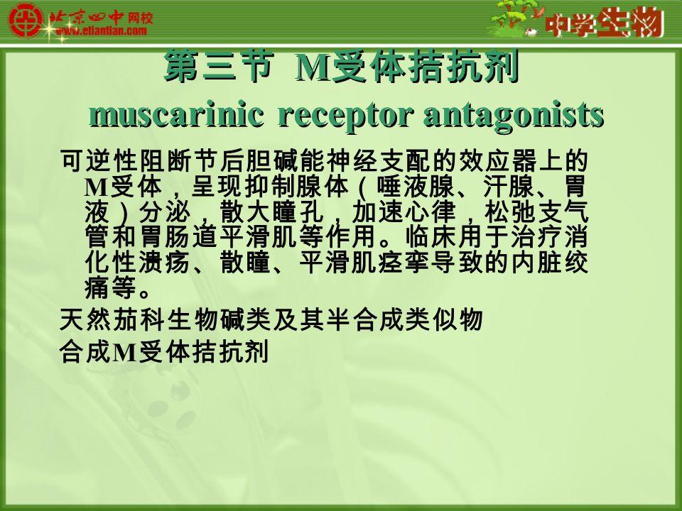 第三节 M 受体拮抗剂 muscarinic receptor antagonists 可逆性阻断节后胆碱能神经支配的效应器上的 M 受体,呈现抑制腺体(唾液腺、汗腺、胃 液)分泌,散大瞳孔,加速心律,松弛支气 管和胃肠道平滑肌等作用。临床用于治疗消 化性溃疡、散瞳、平滑肌痉挛导致的内脏绞 痛等。 天然茄科生物碱类及其半合成类似物 合成 M 受体拮抗剂
