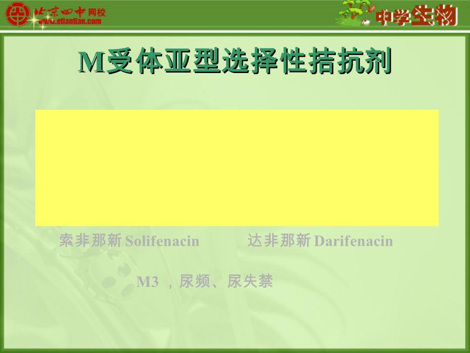 M 受体亚型选择性拮抗剂 索非那新 Solifenacin 达非那新 Darifenacin M3 ,尿频、尿失禁