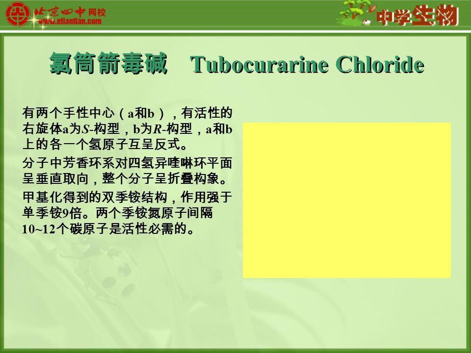 氯筒箭毒碱 Tubocurarine Chloride 有两个手性中心( a 和 b ),有活性的 右旋体 a 为 S- 构型, b 为 R- 构型, a 和 b 上的各一个氢原子互呈反式。 分子中芳香环系对四氢异喹啉环平面 呈垂直取向,整个分子呈折叠构象。 甲基化得到的双季铵结构,作用强于 单季铵 9 倍。两个季铵氮原子间隔 10~12 个碳原子是活性必需的。