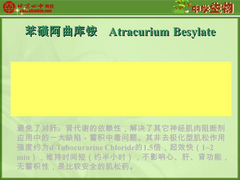 苯磺阿曲库铵 Atracurium Besylate 避免了对肝、肾代谢的依赖性,解决了其它神经肌肉阻断剂 应用中的一大缺陷-蓄积中毒问题。其非去极化型肌松作用 强度约为 d-Tubocurarine Chloride 的 1.5 倍,起效快( 1~2 min ),维持时间短(约半小时),不影响心、肝、肾功能, 无蓄积性,是比较安全的肌松药。