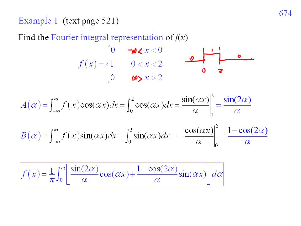 674 Example 1 (text page 521) Find the Fourier integral representation of f(x)