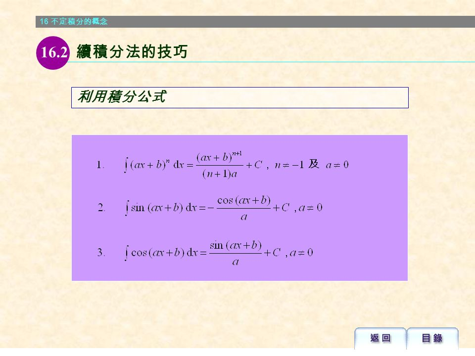 16 不定積分的概念 解: 例 16.7 16.1 不定積分的概念