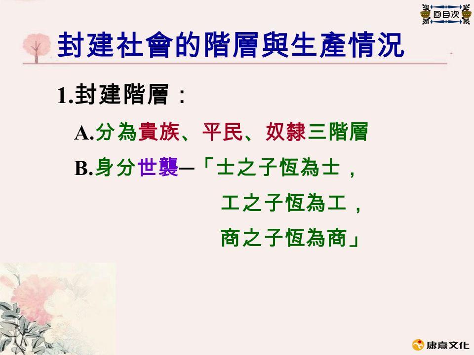 封建社會的階層與生產情況 1. 封建階層: A. 分為貴族、平民、奴隸三階層 B. 身分世襲 ─ 「士之子恆為士, 工之子恆為工, 商之子恆為商」