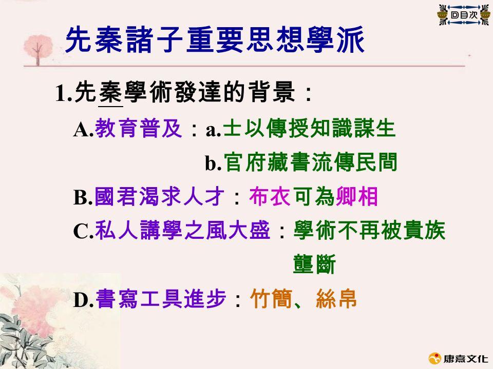 先秦諸子重要思想學派 1. 先秦學術發達的背景: A. 教育普及: a. 士以傳授知識謀生 b.