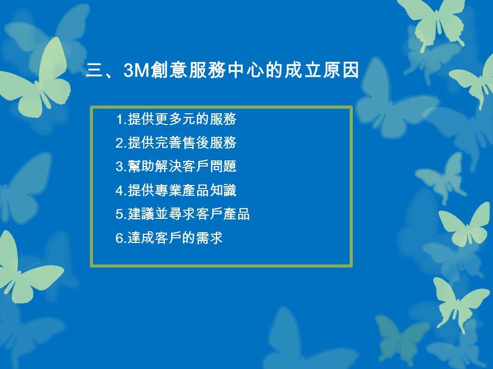 三、 3M 創意服務中心的成立原因 1. 提供更多元的服務 2. 提供完善售後服務 3. 幫助解決客戶問題 4. 提供專業產品知識 5. 建議並尋求客戶產品 6. 達成客戶的需求