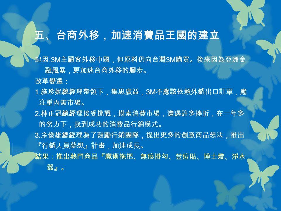 五、台商外移,加速消費品王國的建立 起因 :3M 主顧客外移中國,但原料仍向台灣 3M 購買。後來因為亞洲金 融風暴,更加速台商外移的腳步。 改革變遷: 1.
