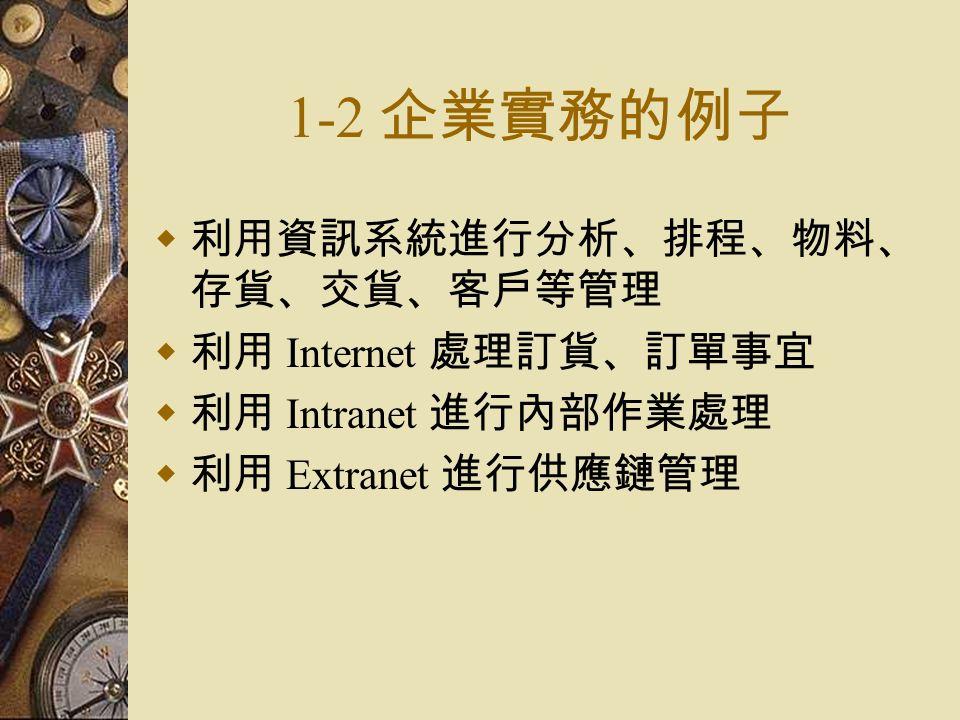 1-2 企業實務的例子  利用資訊系統進行分析、排程、物料、 存貨、交貨、客戶等管理  利用 Internet 處理訂貨、訂單事宜  利用 Intranet 進行內部作業處理  利用 Extranet 進行供應鏈管理