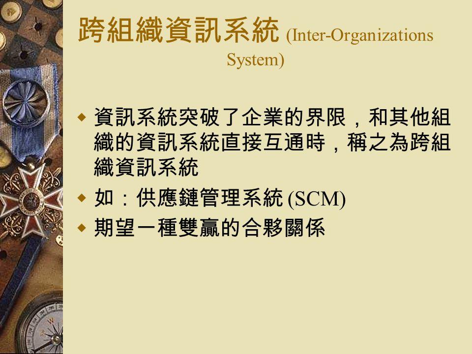跨組織資訊系統 (Inter-Organizations System)  資訊系統突破了企業的界限,和其他組 織的資訊系統直接互通時,稱之為跨組 織資訊系統  如:供應鏈管理系統 (SCM)  期望一種雙贏的合夥關係